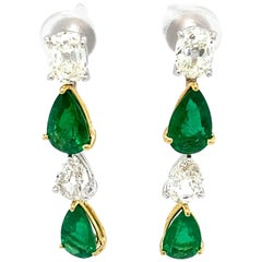 Pear Shaped Emerald and White Diamond Gold Dangle Earrings