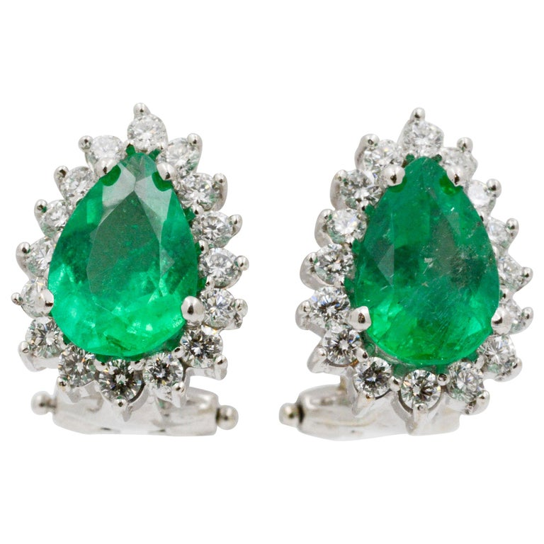 Pear Shaped Emerald Diamond Halo 18 Karat White Gold Earrings For Sale