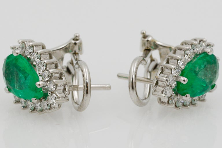 Pear Shaped Emerald Diamond Halo 18 Karat White Gold Earrings For Sale 4