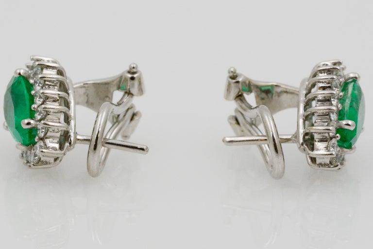 Pear Shaped Emerald Diamond Halo 18 Karat White Gold Earrings For Sale 5