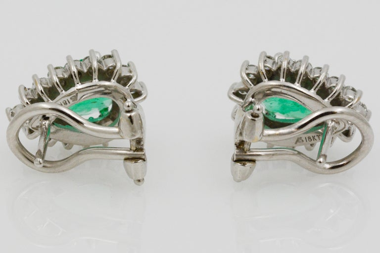 Pear Shaped Emerald Diamond Halo 18 Karat White Gold Earrings For Sale 6