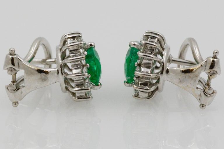 Pear Shaped Emerald Diamond Halo 18 Karat White Gold Earrings For Sale 7