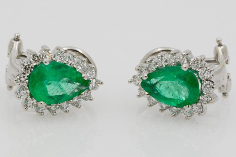Pear Cut Pear Shaped Emerald Diamond Halo 18 Karat White Gold Earrings For Sale