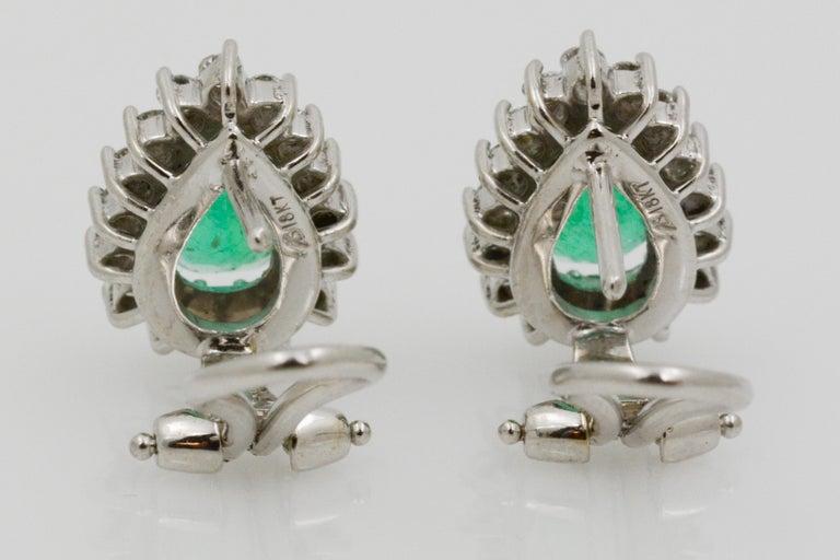 Pear Shaped Emerald Diamond Halo 18 Karat White Gold Earrings For Sale 1