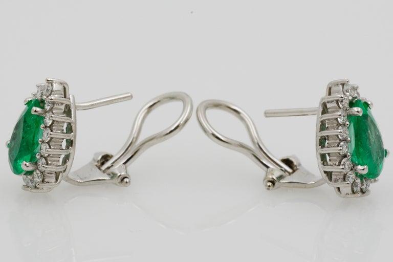 Pear Shaped Emerald Diamond Halo 18 Karat White Gold Earrings For Sale 3