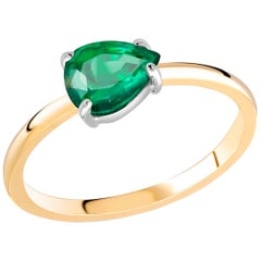 Pear Shaped Emerald Yellow and White Gold Cocktail Ring Weighing 1.20 Carat