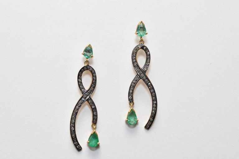Pear-Shaped Faceted Emeralds with Pave Set Diamonds In Excellent Condition For Sale In Nantucket, MA