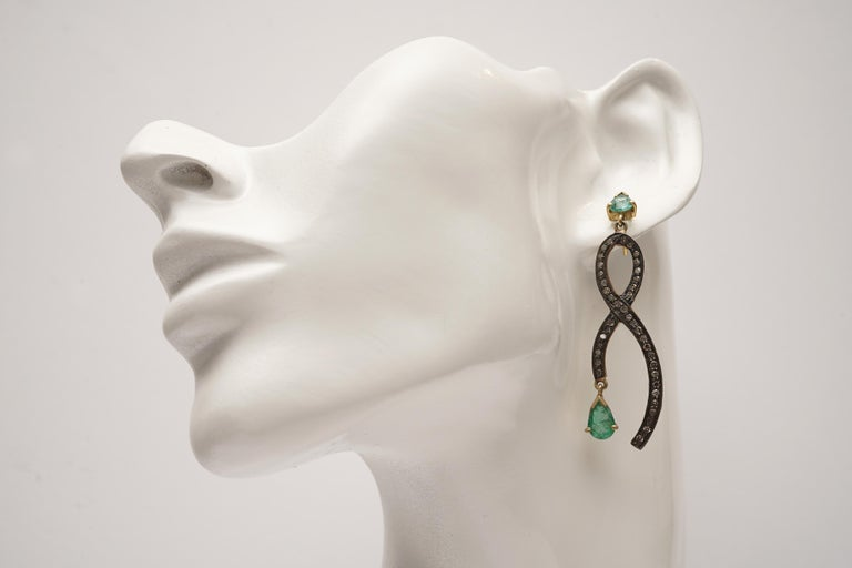 Pear-Shaped Faceted Emeralds with Pave Set Diamonds For Sale 1