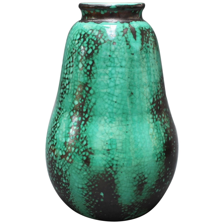 Pear-Shaped Green and Black Ceramic Vase by Primavera, circa 1930s