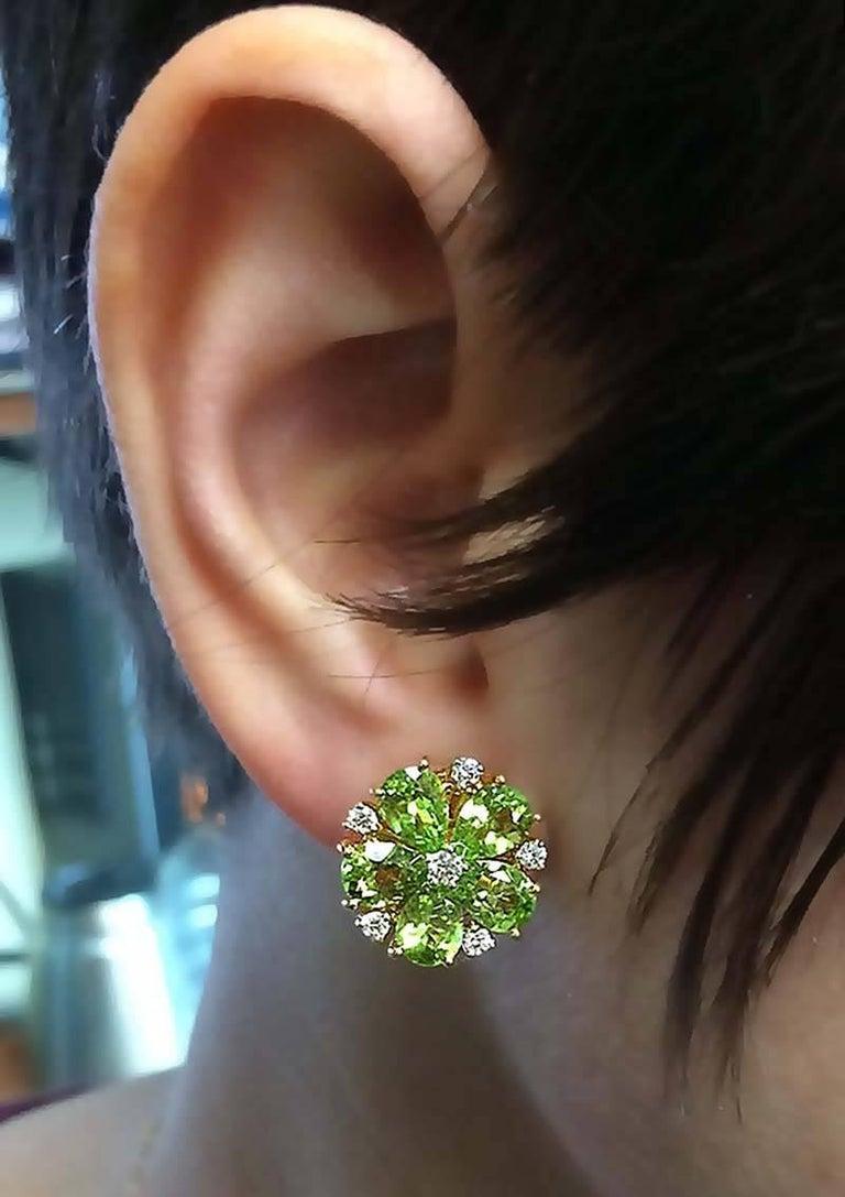 Women's Pear Shaped Peridot Diamond Gold Cluster Earrings For Sale