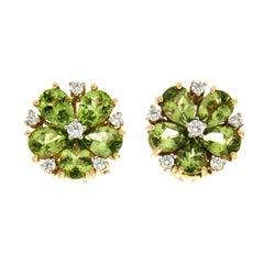 Pear Shaped Peridot Diamond Gold Cluster Earrings