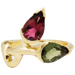 Pear Shaped Pink and Green Tourmaline Gold Ring
