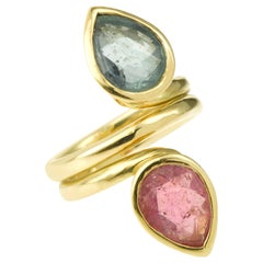 Pear Shaped Pink and Green Tourmaline Toi et Moi 18 Karat Yellow Gold Ring