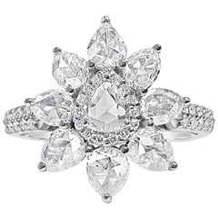 Pear Shaped Rose Cut Diamond Ring with Round Brilliant Diamonds, 18 Karat Gold