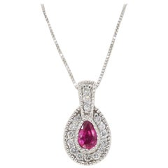 Pear Shaped Ruby and Diamond Halo Pendant Necklace