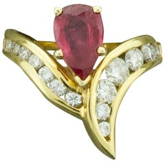 Pear Shaped Ruby and Diamond Ring in 18 Karat