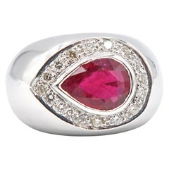 Pear Shaped Ruby Diamond Halo Convex 18 Karat Gold Ring