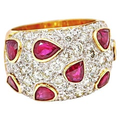 Pear Shaped Ruby Over Diamond Pavé 18 Karat Gold Band Ring