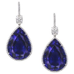 Pear Shaped Tanzanite and GIA Certified Oval Diamond Drop Earrings