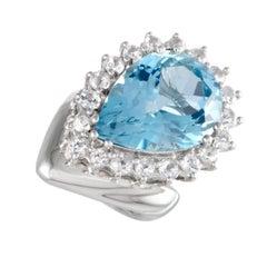 Pear Shaped Topaz Diamond Platinum Cocktail Ring