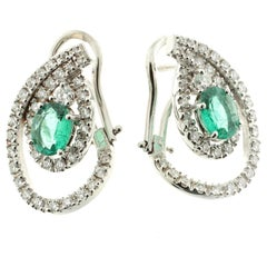 Pear-Shaped White Diamond and Emerald Earrings