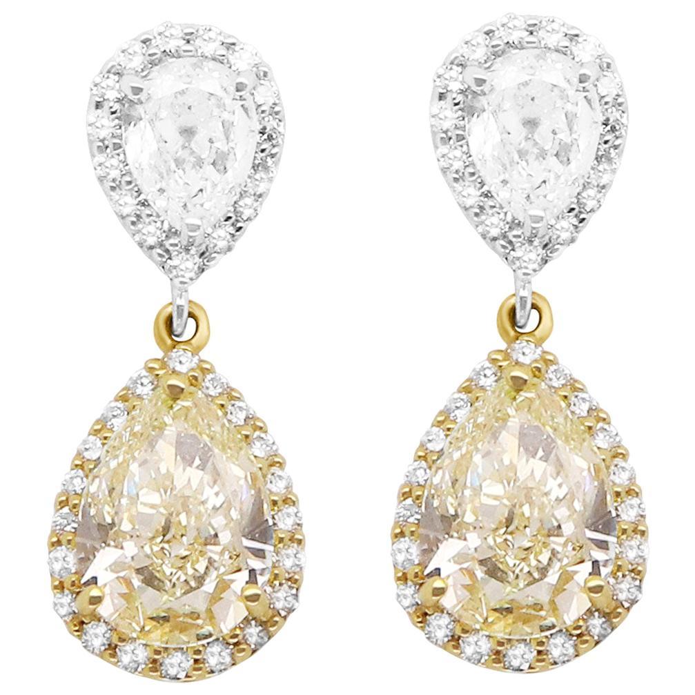 GIA Certified Pear Shaped Yellow White Diamond Drop Earrings 18K Two-Tone Gold