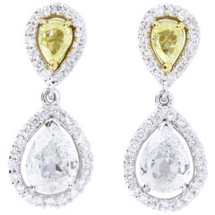 Pear Shaped Yellow Diamond and White Diamond Drop Earrings