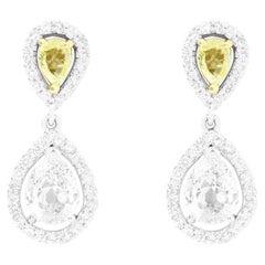 Pear Shaped Yellow Diamond and White Diamond Drop Earrings