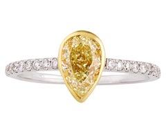 Pear-Shaped Yellow Diamond Ring, 1.02 Carats