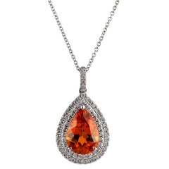 Pear Spessartite Garnet and Diamond Pendant