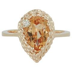 Pear Yellow Beryl Engagement Ring White Diamond Braided 14 Karat Yellow Gold