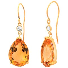 Pear Yellow Citrine and Diamond Yellow Gold Hoop Earrings Weighing 17.35 Carat