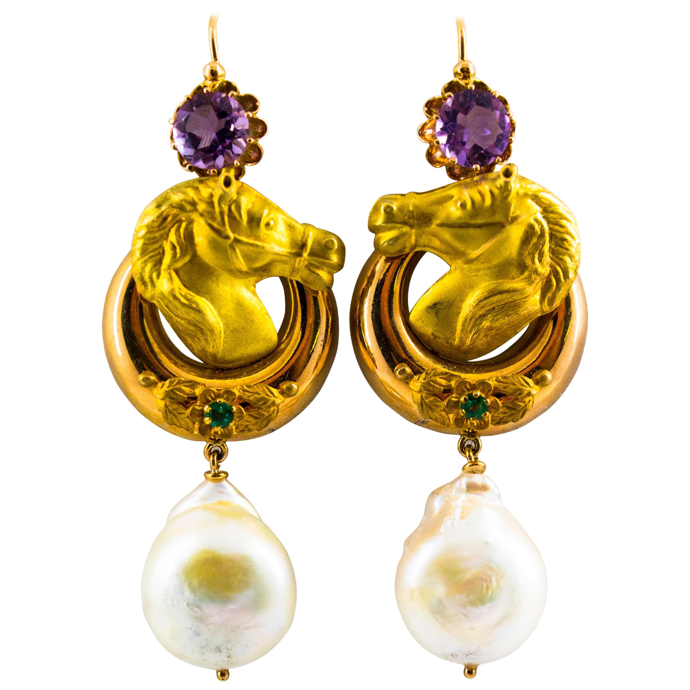 """Pearl 0.20 Carat Emerald Amethyst Yellow Gold Stud """"Horses"""" Earrings"""