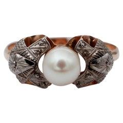 Pearl, 14 Karat White and Rose Gold Ring