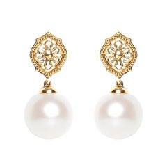 Pearl 18 Karat Yellow Gold Mauresque Drop Earrings Natalie Barney
