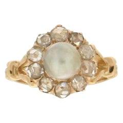 Pearl, 18 Karat Yellow Gold, Rose Cut Diamonds, Cocktail Ring