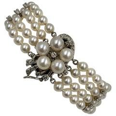 Pearl 26 Diamond Bracelet 14 Karat White Gold Retro Hollywood Regency