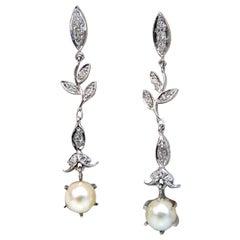 Pearl .50 Carat Natural Diamonds Floral Drop Dangle Earrings 14 Karat