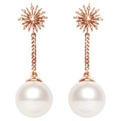 Pearl 9 Karat Rose Gold Soleil Drop Earrings Natalie Barney