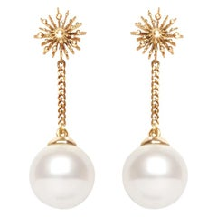 Pearl 9 Karat Yellow Gold Soleil Drop Earrings Natalie Barney