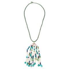 Pearl, Amazonite, Turquoise, Lapis 18k Gold Pendant