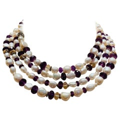 "72"" Long Pearl Amethyst and Citrine Necklace"