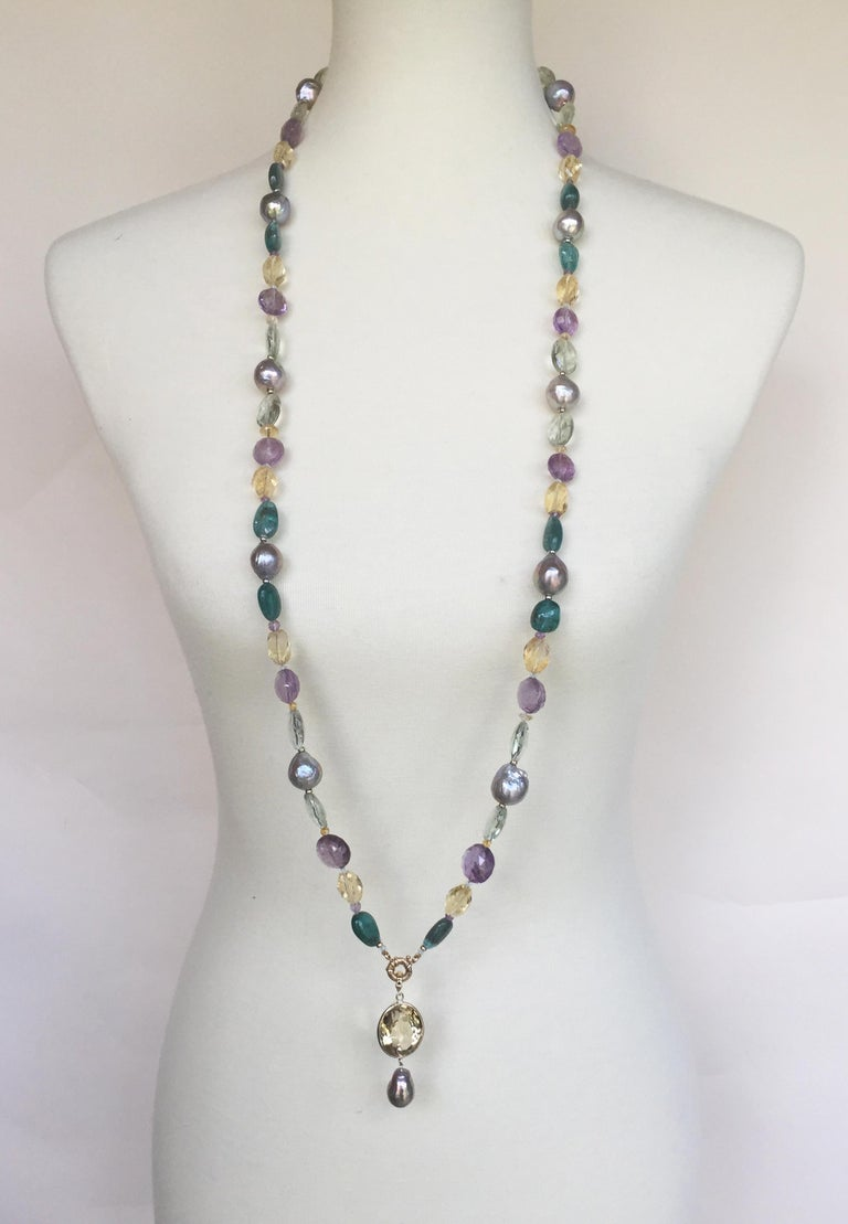 Artist Marina J Pearl, Amethyst and  Citrine Necklace with 14k White and Yellow Gold For Sale