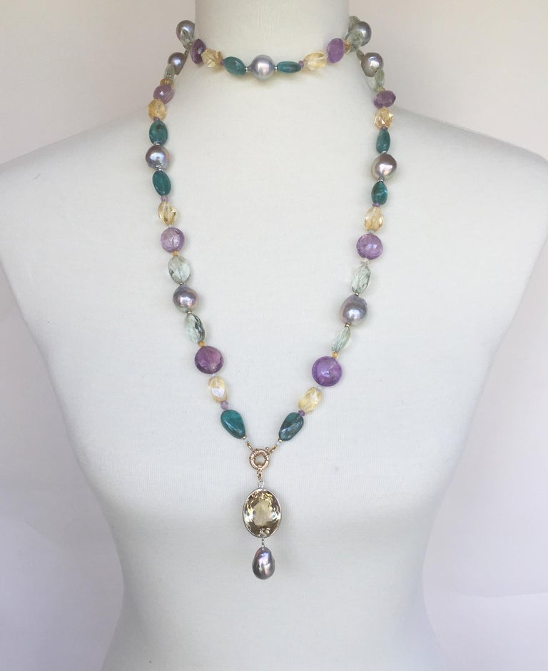 Marina J Pearl, Amethyst and  Citrine Necklace with 14k White and Yellow Gold In New Condition For Sale In Beverly Hills, CA