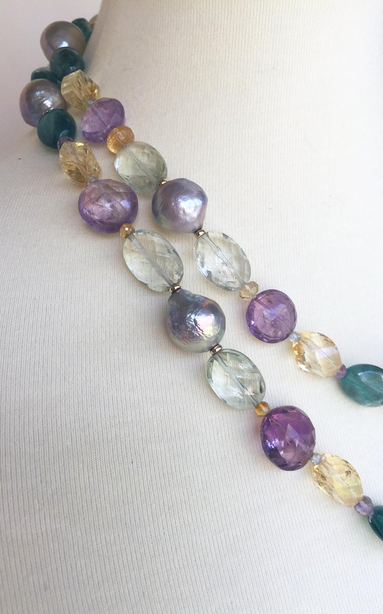 Marina J Pearl, Amethyst and  Citrine Necklace with 14k White and Yellow Gold For Sale 1
