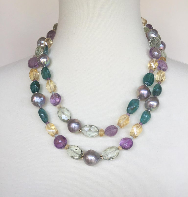 Marina J Pearl, Amethyst and  Citrine Necklace with 14k White and Yellow Gold For Sale 2