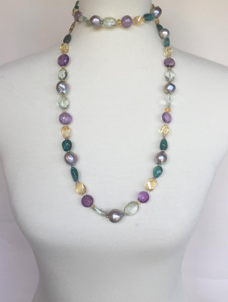 Marina J Pearl, Amethyst and  Citrine Necklace with 14k White and Yellow Gold For Sale 3