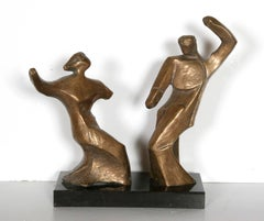 Dancing Couple, Table-Top Bronze Sculpture by Pearl Amsel