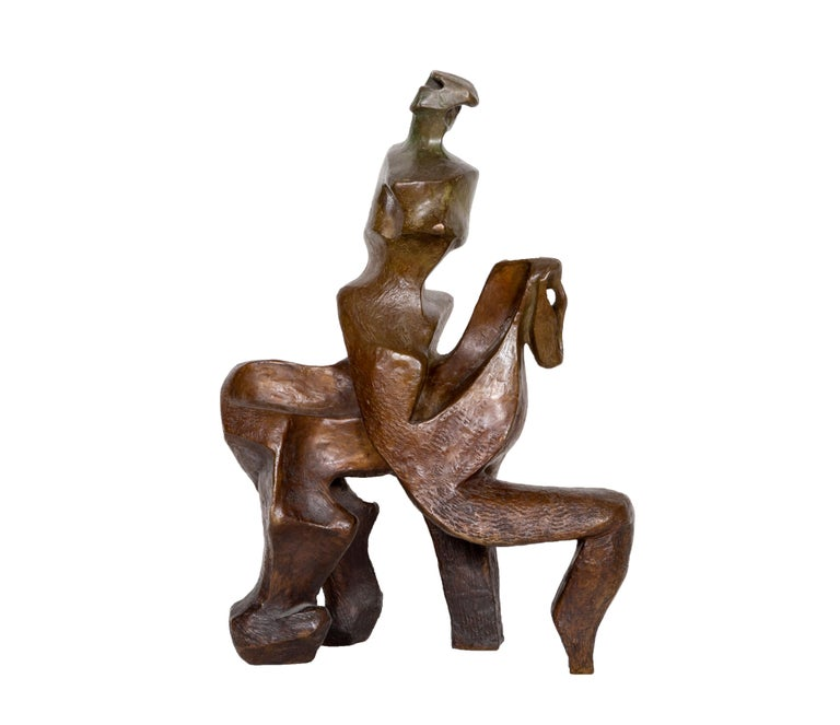 Horse and Rider, Bronze Sculpture by Pearl Amsel For Sale 2