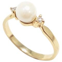 Pearl and .02 Carat Diamond 14 Karat Gold Ring, Band, circa Late 1900s